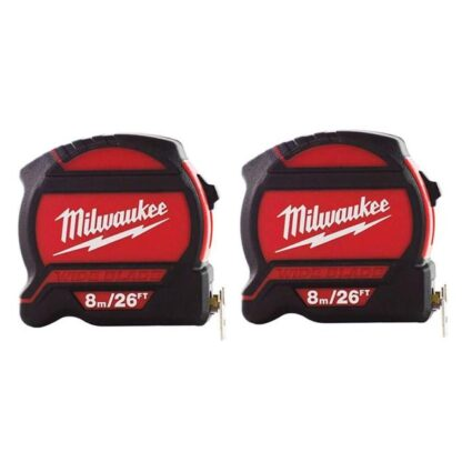 Milwaukee 48-22-7526G 8m/26ft Wide Blade Tape Measure 2-Pack
