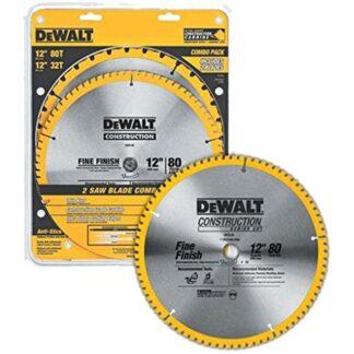 "DeWalt DW3128P5B10 2 Piece Saw Blade Combo Pack 12"" x 80T"