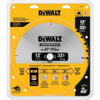"DeWalt DW3123 12"" 32T ATB Thin Kerf General Purpose Miter Saw Blade"