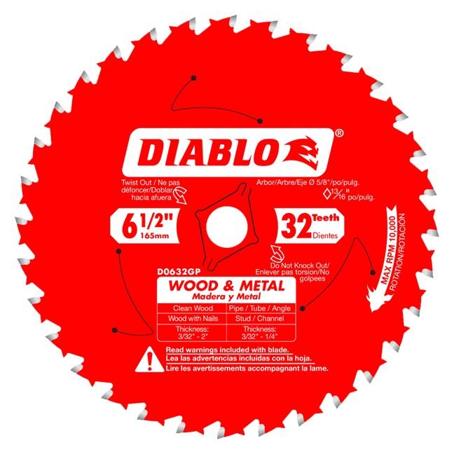 "Freud D0632GPA 6-1/2"" x 32T Wood & Metal Carbide Saw Blade"