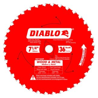 "Freud D0736GPA 7‑1/4"" x 36T Wood & Metal Carbide Saw Blade"