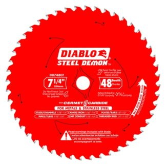"Freud D0748CFX 7-1/4"" x 48T Cermet Metal and Stainless Steel Cutting Saw Blade"