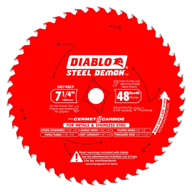 """Freud D0748CFX 7-1/4"""" x 48T Cermet Metal and Stainless Steel Cutting Saw Blade"""