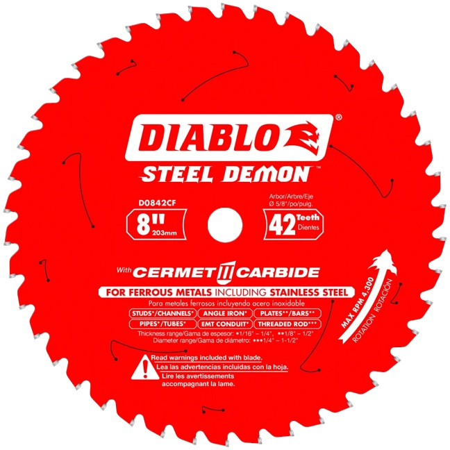 """Freud D0842CF 8"""" x 42T Cermet Metal and Stainless Steel Cutting Saw Blade"""