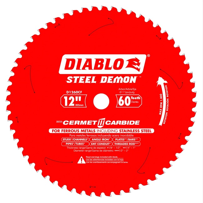 """Freud D1260CF 12"""" x 60T Cermet Metal and Stainless Steel Cutting Saw Blade"""