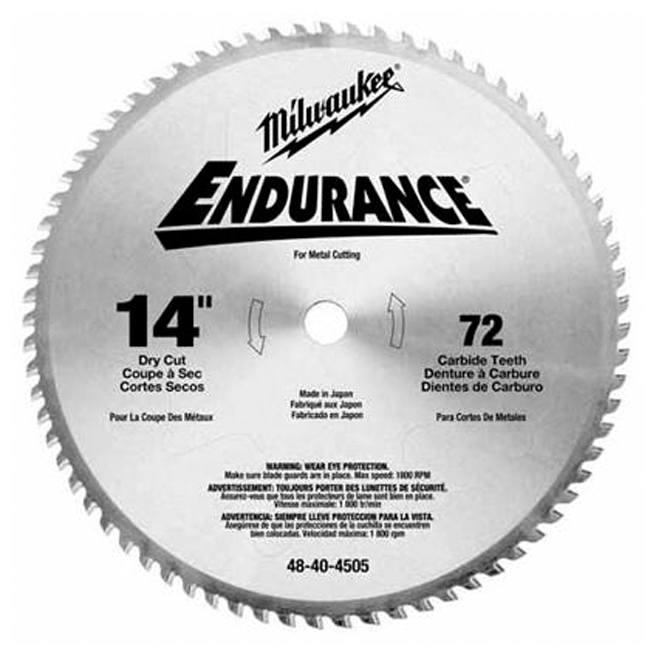 "Milwaukee 48-40-4505 14"" 72T Dry Cut Carbide Tipped Circular Saw Blade"