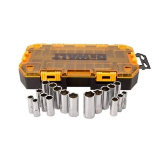 DeWalt DWMT73812 Tough Box Tool Kit 3/8'' Drive Deep Socket Set 20pc