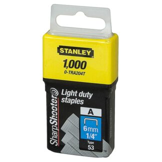 "Stanley TRA204T 1/4"" Light Duty Staples 1,000pcs"