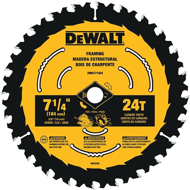 """DeWalt DWA171424 7-1/4"""" 24T Circular Saw Blade"""