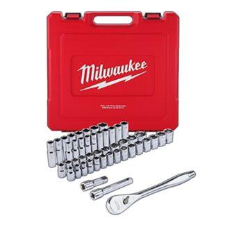 "Milwaukee 48-22-9010 1/2"" Drive 46pc Ratchet and Socket Set SAE & Metric"