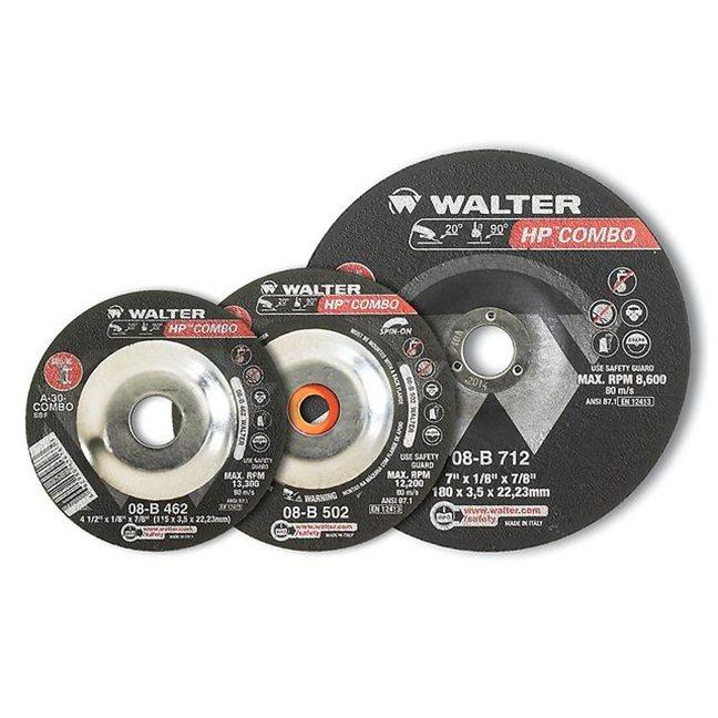 "Walter 08B462 HP Combo Cutting and Grinding Wheel 4-1/2""-1/8""-7/8"""