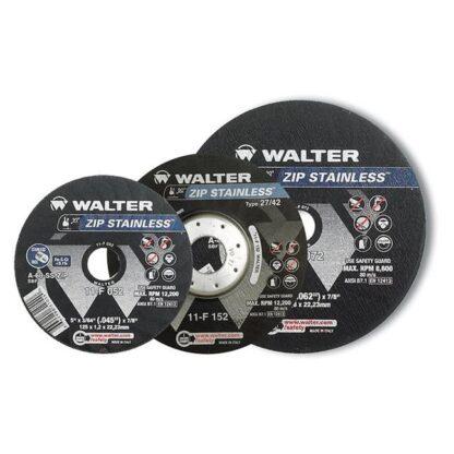 "Walter 11F052 Zip Stainless Cut-Off Wheel 5""-3/64""-7/8"""