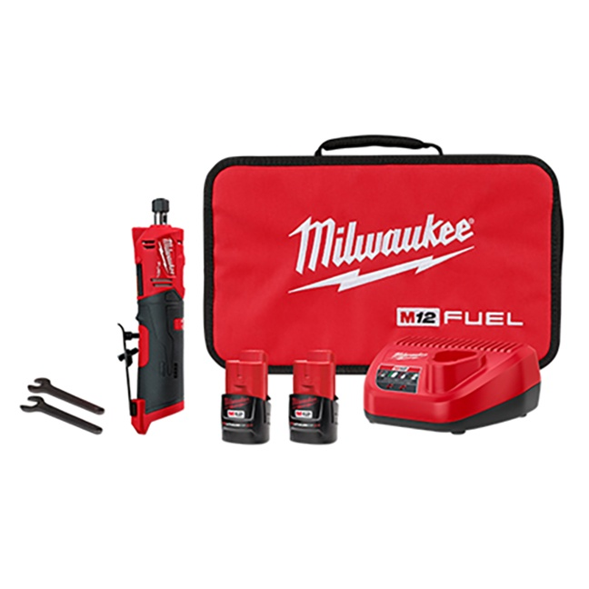 "Milwaukee 2486-22 M12 FUEL 1/4"" Straight Die Grinder Kit"
