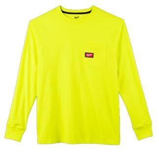 Milwaukee 602HV Heavy Duty Pocket Long Sleeve T-Shirt Hi Viz