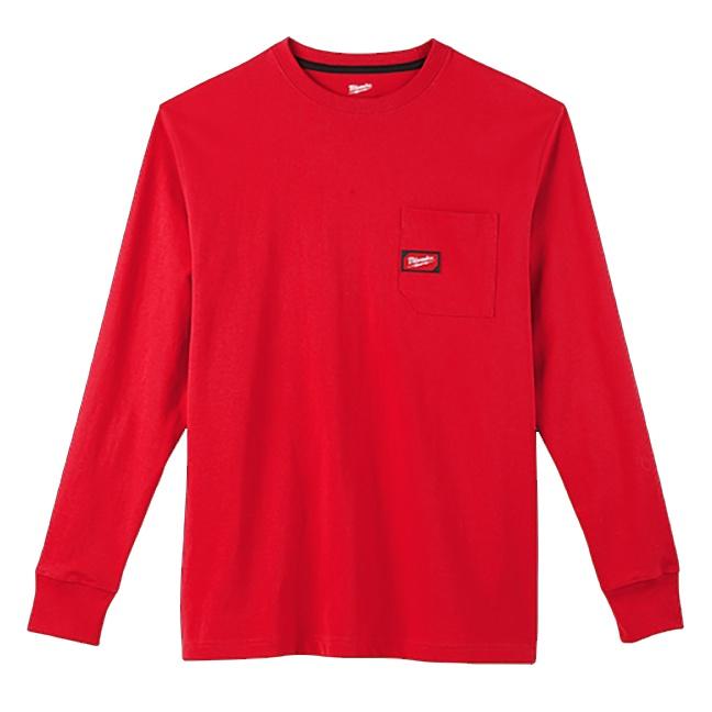 Milwaukee 602R Heavy Duty Pocket Long Sleeve T-Shirt Red