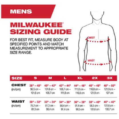Milwaukee T-Shirt Sizing Chart