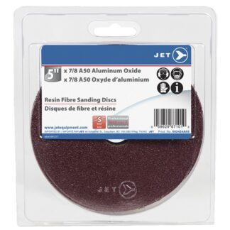 "Jet 502424A05 5x7/8"" A50 Aluminum Oxide Resin Fibre Sanding Disc"