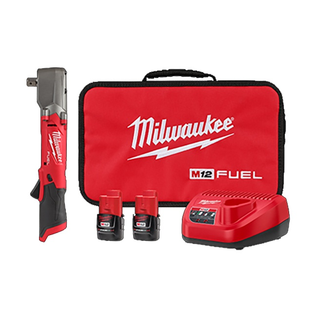 """Milwaukee 2565P-22 M12 FUEL 1/2"""" Right Angle Impact Wrench Kit"""