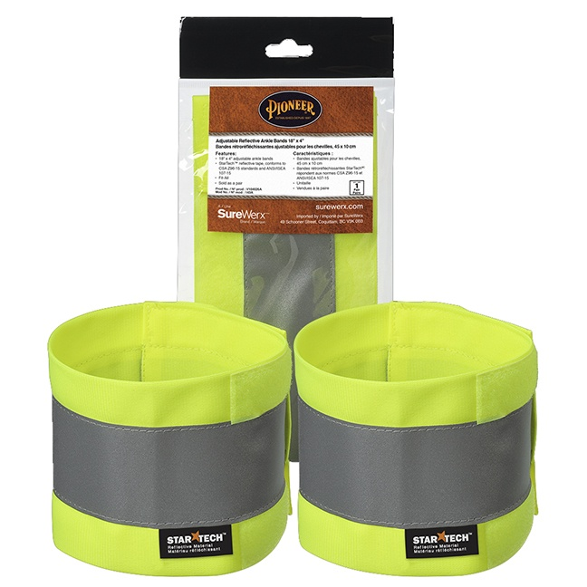 """Pioneer 143A Adjustable Reflective Ankle Bands 18"""" x 4"""""""