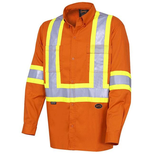 Pioneer 4441 Hi-Viz Cotton Long-Sleeved Safety Shirt