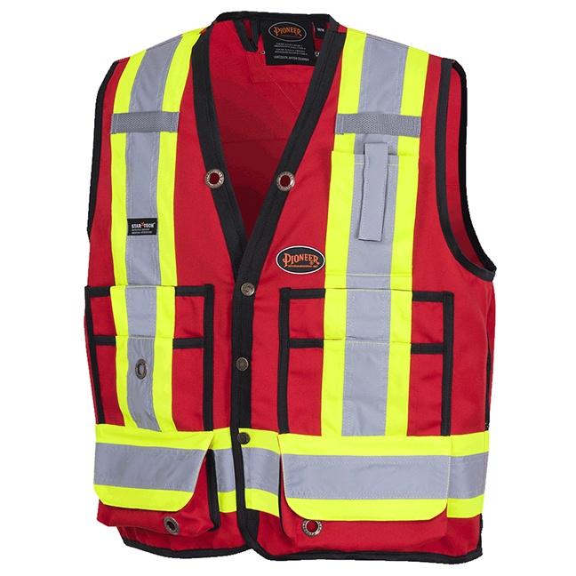 Pioneer 6683 Hi-Viz Surveyor's Safety Vest 150D Woven Twill Poly