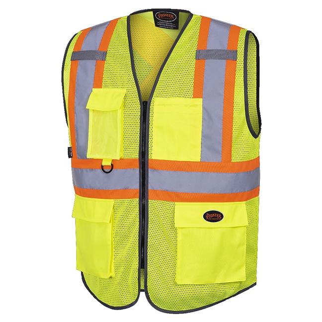 Pioneer 6961 Hi-Viz Zipper Front Mesh Safety Vest