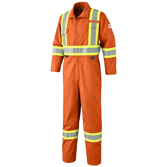 Pioneer 7705 FR-Tech Flame Resistant 7 oz Hi-Viz Safety Coverall with Leg Zippers