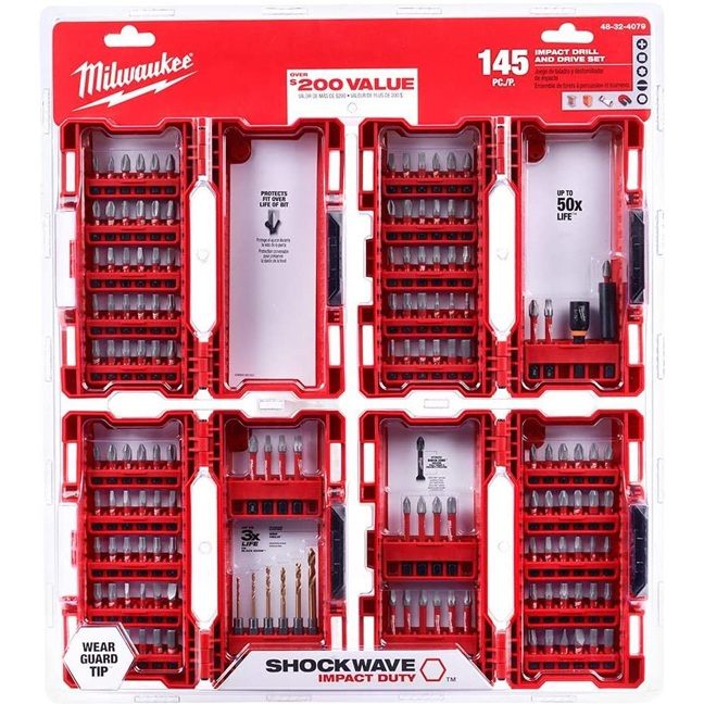 Milwaukee 48-32-4079 145PC Shockwave Impact Duty Steel Drill Bits and Screw Driver Set