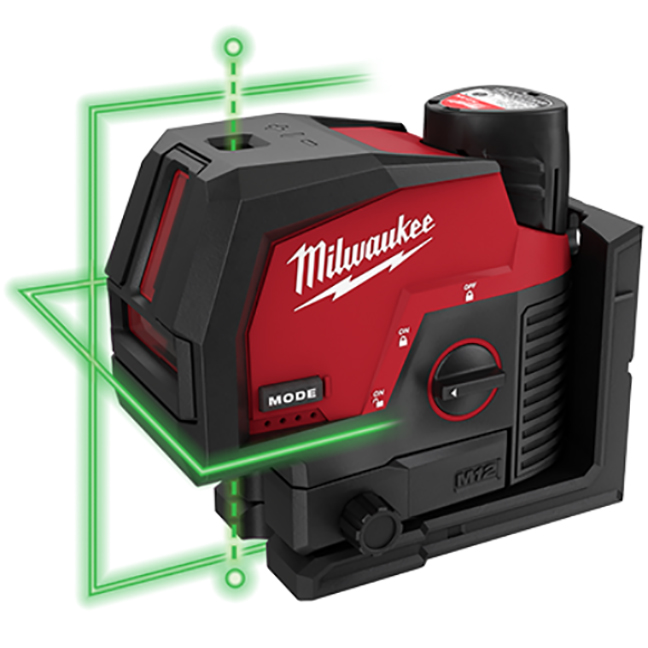 Milwaukee 3622-21 M12 Green Cross Line and Plumb Points Laser Kit