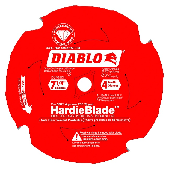 "Freud D0704DH DIABLO 7‑1/4"" x 4T Fiber Cement Circular Saw HardieBlade™"