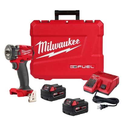 """Milwaukee 2854-22 M18 FUEL 3/8"""" Compact Impact Wrench Kit - 5.0Ah Batteries"""