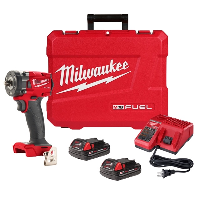 """Milwaukee 2854-22CT M18 FUEL 3/8"""" Compact Impact Wrench Kit - 2.0Ah Batteries"""