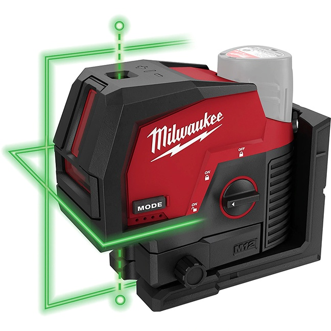Milwaukee 3622-20 M12 Green Cross Line and Plumb Points Laser - Tool Only
