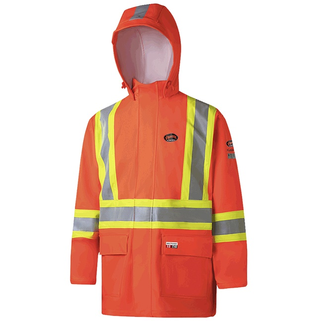 Pioneer 5880 V3520650 Hi-Viz FR ARC PU/Cotton Rain Jackets - Orange