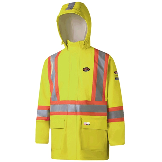 Pioneer 5881 V3520660 Hi-Viz FR ARC PU/Cotton Rain Jackets - Yellow