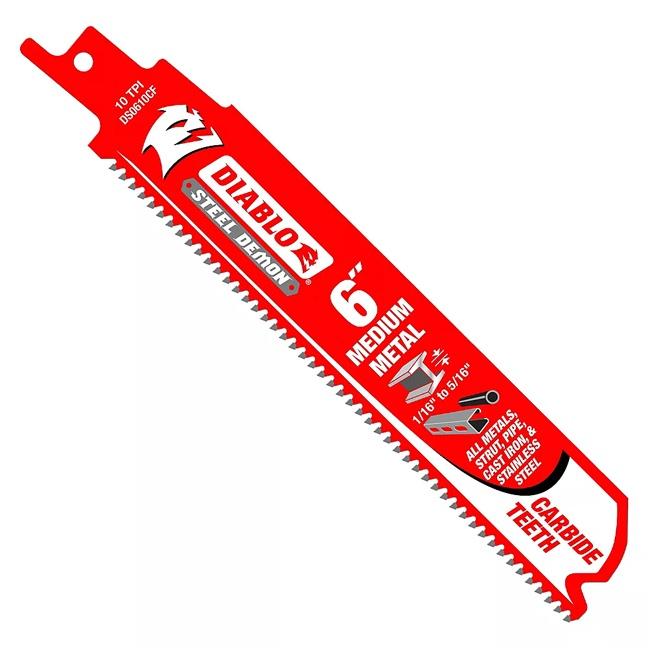 Diablo DS0610CFC 6″ 10-TPI Medium Metal Carbide Tip Reciprocating Saw Blade 1pk