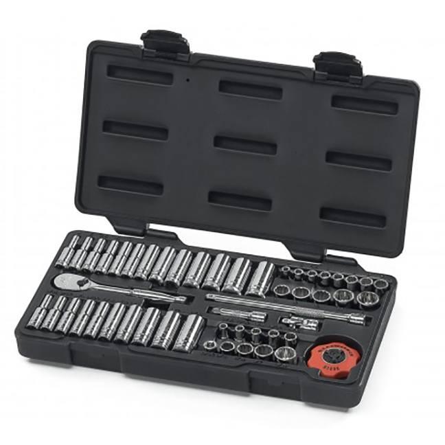 "GearWrench 80301 51-Piece 1/4"" Drive 12-Point Standard & Deep SAE/Metric Mechanics Tool Set"