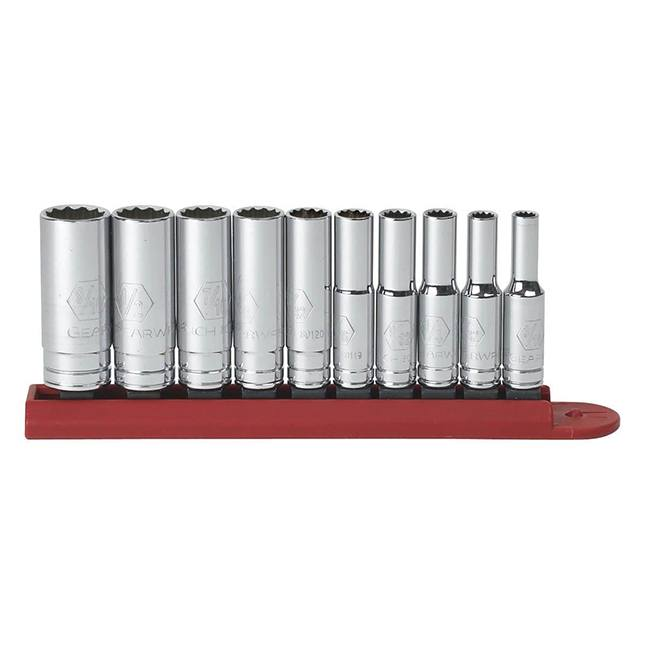"""GearWrench 80309D 10-Piece 1/4"""" Drive 12-Point Deep SAE Socket Set"""