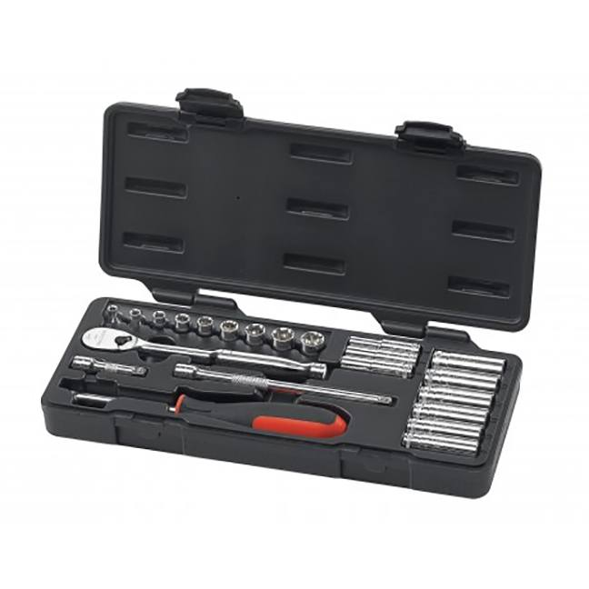 "GearWrench 80327 22-Piece 1/4"" Drive 6 & 12 Point Standard & Deep Metric Mechanics Tool Set"