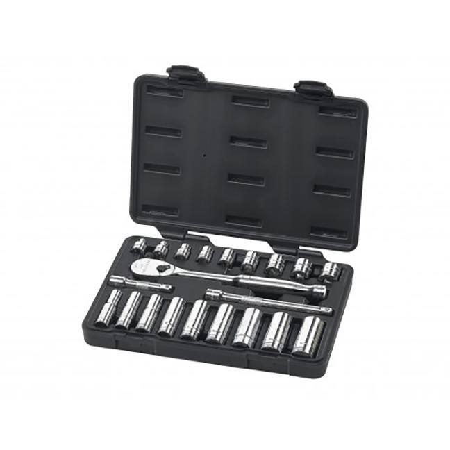 "GearWrench 80557 21-Piece 3/8"" Drive 6 & 12 Point Standard & Deep SAE Mechanics Tool Set"