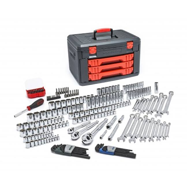 GearWrench 80940 219 Piece Mechanics Tool Set in 3 Drawer Storage Box
