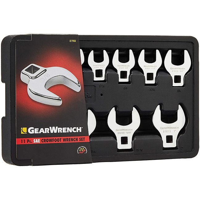 """GearWrench 81908 11-Piece 3/8"""" Drive SAE Crowfoot Wrench Set"""