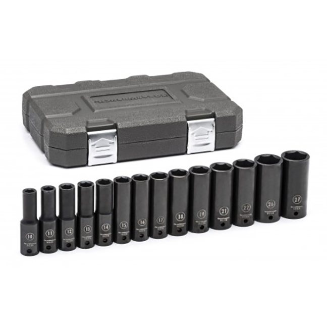 "GearWrench 84955N 14-Piece 1/2"" Drive 6-Point Deep Impact Metric Socket Set"