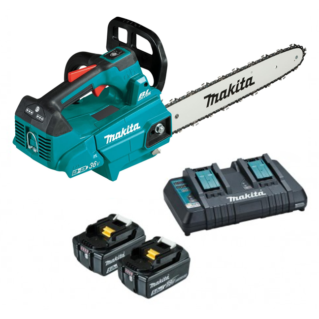 """Makita DUC356PT2 18Vx2 Brushless Top Handle Chainsaw 14"""" Kit"""