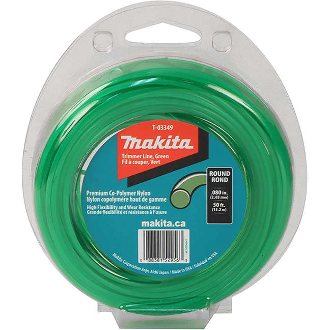 """Makita T-03349 Round Trimmer Line 0.080"""" x 50ft Loop - Green"""