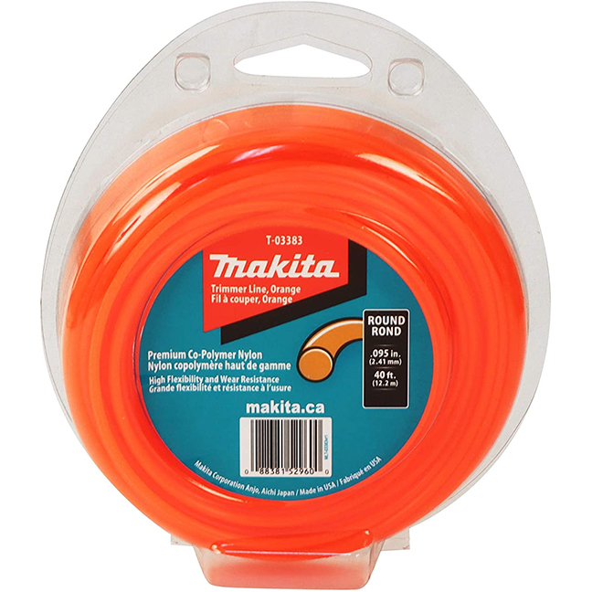 "Makita T-03383 Round Trimmer Line 0.095"" x 40ft Loop - Orange"