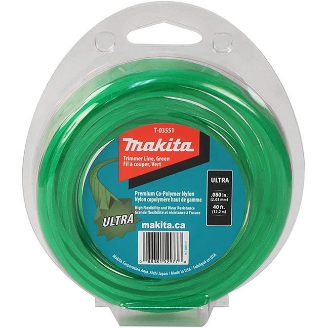 "Makita T-03551 Ultra Trimmer Line 0.080"" x 40ft Loop - Green"