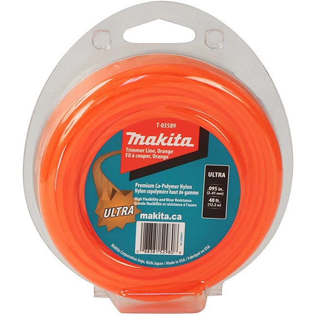 "Makita T-03589 Ultra Trimmer Line 0.095"" x 40ft Loop - Orange"