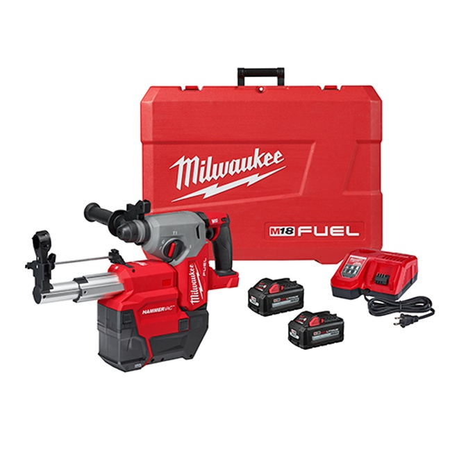 """Milwaukee 2912-22DE M18 FUEL 1"""" SDS Plus Rotary Hammer with Dust Extractor Kit"""