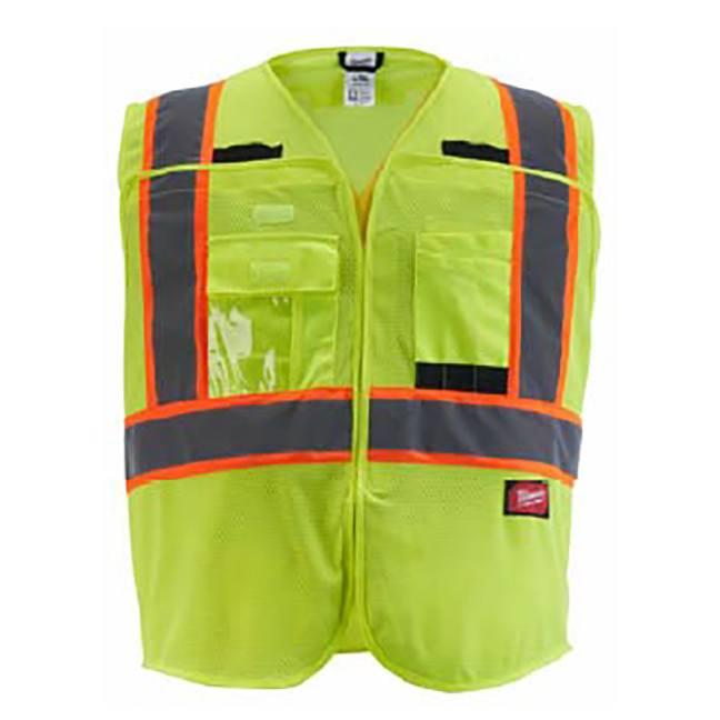 Milwaukee Class 2 Breakaway High Visibility Yellow Mesh Safety Vest
